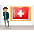 A man beside the framed flag of Switzerland vector image vector image