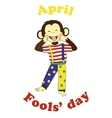 April 1 fools day cartoon funny card vector image