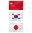 asian wave flags vector image vector image
