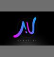 au artistic brush letter logo handwritten vector image vector image