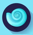 blue sea shell flat logo seafood flat icon vector image