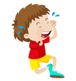 Boy in red shirt crying vector image vector image
