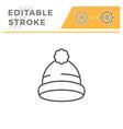cap editable stroke line icon vector image vector image
