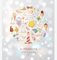 card with summer doodle sketch elements vector image vector image