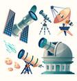 cartoon astronomy set astronomical vector image vector image