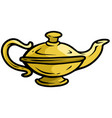 cartoon old gold genie lamp icon vector image