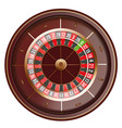 casino roulette wheel top view isolated on white vector image