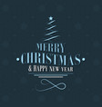 christmas and new year postcard with tree and vector image vector image