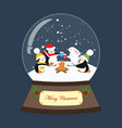 christmas snow globe with penguins and rabbit vector image