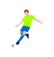 close-up view of soccer player with the ball on a vector image