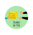 delivered on time icon with package and vector image