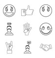 emotional icons set outline style vector image