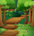 Forest scene with dirt road in the middle vector image vector image