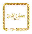 gold chain square border frame rectangle wreath vector image vector image