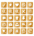 gold colored metal chrome web icons set vector image vector image