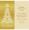 Greeting card with Christmass tree gold vector image vector image