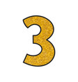 hand drawn golden number 3 isolated on white vector image vector image