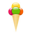 ice cream with cone on white background vector image