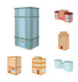 isolated object of city and build logo set of vector image