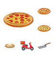 Isolated object of pizza and food sign set of