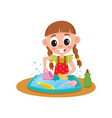 little girl washing dishes in sink daily routine vector image vector image