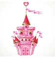 Magical fairytale pink castle with flags vector image vector image