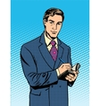 male businessman with a notebook vector image vector image