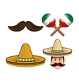 mexican culture set icons isolated vector image vector image