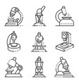 microscope icons set outline style vector image vector image