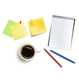 office supplies and cup of coffee vector image vector image