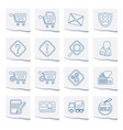online shop icons on a piece of paper vector image vector image