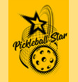 pickleball on yellow background vector image vector image
