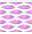 Pink curly cartoon style clouds seamless vector image vector image