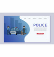 police patrol concept with cops and guard dog near vector image vector image