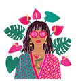 portrait a brunette woman in urban jungle vector image vector image