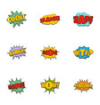 record label icons set cartoon style vector image