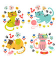 set isolated cute cats in flowers vector image