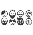 Set of outline hipster emoticons emoji vector image vector image