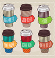 set of six different trendy paper cup of coffee vector image vector image