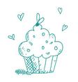 sketch cupcake vector image vector image