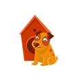 Smiling Puppy Next To Wooden Kennel vector image vector image
