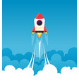 startup background rocket in cloudy fluffy sky vector image