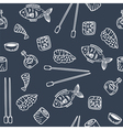 Sushi and rolls seamless pattern Hand drawn sketch vector image
