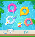 swimming pool with colorful floats top view vector image vector image