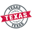 Texas red round grunge vintage ribbon stamp vector image vector image