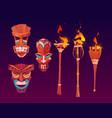 tiki masks and burning torches tribal wood totems vector image vector image