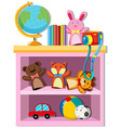 Toys and books on shelf vector image vector image