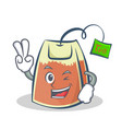 two finger tea bag character cartoon vector image vector image
