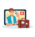 video blogger travel blog concept man with vector image vector image
