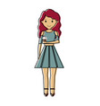 woman with red hair an ice cream cone vector image